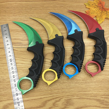 CS GO Counter Strike claw Karambit Knife Neck Knife with Sheath Tiger Tooth Real game Knife red,blue,golden colors camping knife(China)