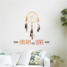 Creative DREAM AND LOVE DIY Wall Stickers Art Wall Decals INDIAN Dreamcatcher Bedroom Living Room Home Decor Wallpapers 50*70cm