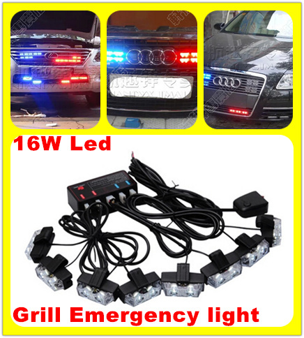 16W(8heads) bright Led car Grill warning light,emergency flashing light,DRL, police,fireman,ambulance strobe light,waterproof<br><br>Aliexpress