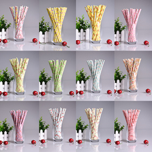 25pcs/lot Retro Floral Paper Straws Biodegradable Vintage Drinking Paper Straws for Wedding Birthday Party drinking Prom Straws(China)