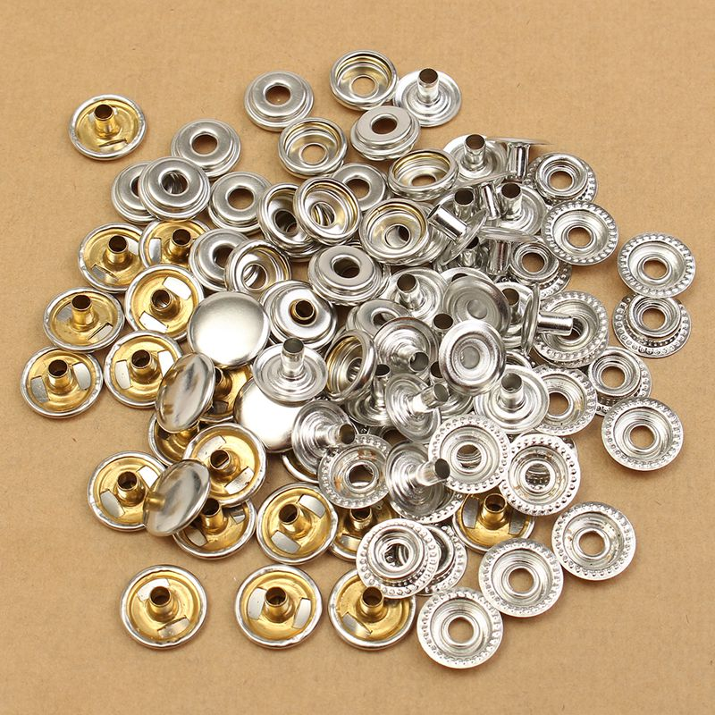 100 Piece Stainless Steel Fastener Snap Buttons Set Silver Snap Fasteners Popper Press Stud Button DIY For Leather Craft Clothes(China (Mainland))