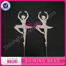 Elegant Ballet Dancer Rhinestone Cake Topper Decor,New Fashionable Rhinstione Ballet Dancer Topper,FREE SHIPPING!20pieces/lot(China)