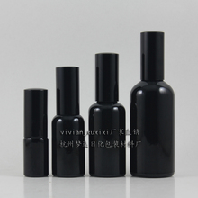 wholesale 100pcs 30ml shiny black travel refillable perfume bottle with black spray mist cap, black perfume container 100ml
