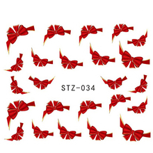 1sheets 3d Red Bow Ties Water Transfer Stickers Nail Art Decoration French Tips Beauty Full Wraps Decals Nail Supplies STZ034(China)