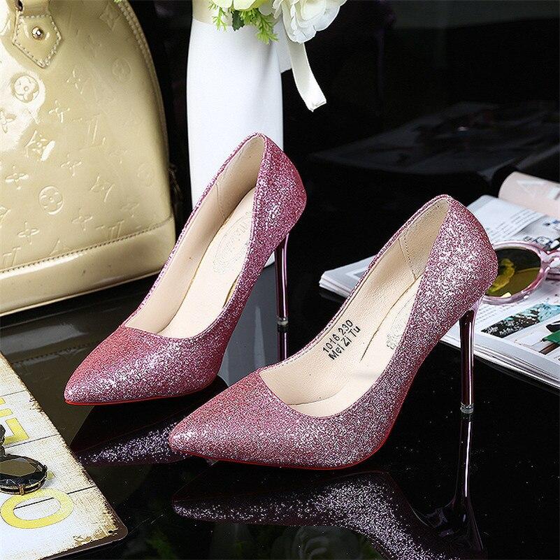 New Design Sparkling Red Bottom High Heels Platform Cinderella Shoes Women Pumps Party Wedding Shoes <br><br>Aliexpress