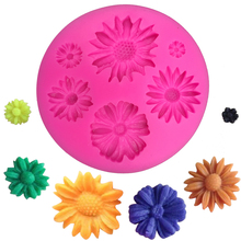 Chrysanthemum Shape fondant cake silicone moulds chocolate jelly pastry candy Clay cupcake decoration kitchen Baking tool F0193(China)