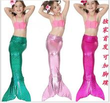 Halloween Mermaid costume 3pcs Cute Girls Gilding Mermaid Tail Princess Ariel Bikini Swimsuit Little Mermaid Tail Dress Costume