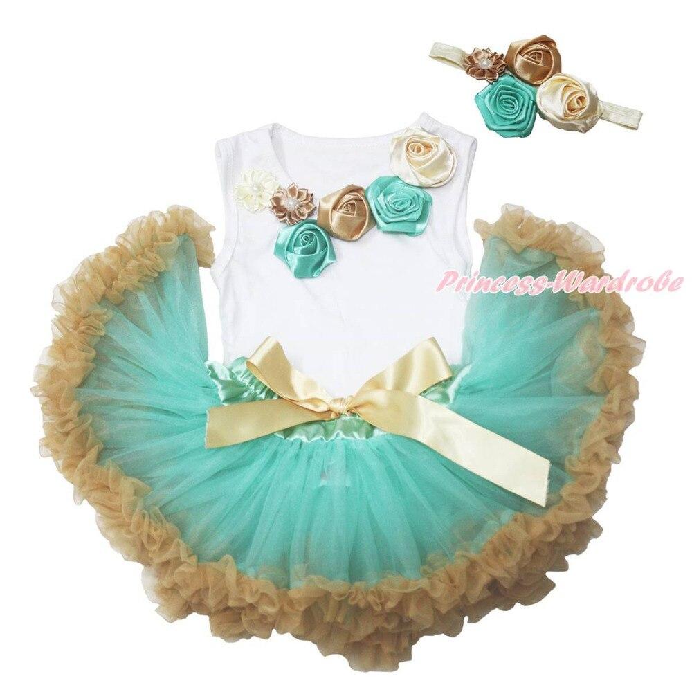 Vintage Garden Flower Rose White Top Aqua Blue Goldenrod Baby Girls Skirt 3-12M MAPSA0753<br><br>Aliexpress