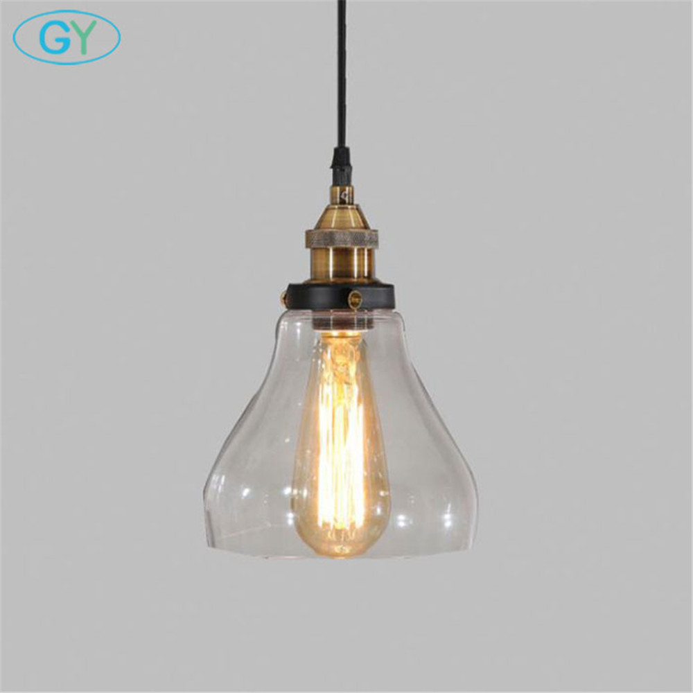 Industrial Style 1-Light Pendant lights 40W Edison bulb pendant lamp Glass Lampshde+ Metal wire adjustable Hanging Lighting<br>