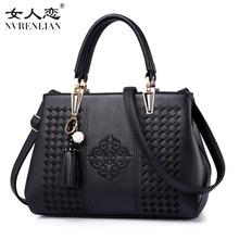 Lucky Pattern Embroidery Bag Tassel Fashion Women Handbag Pu Leather Shoulder Bags Tote Satchel Messenger Bag NVRENLIAN Brand(China)