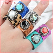 BOROSA Multi-stone With Multi-Color Natural Python Skin Paved Zircon Ring JAB299(China)
