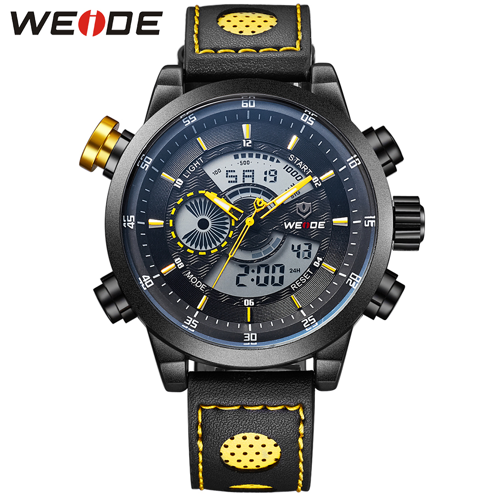 WEIDE Luxury Famous Mens Back Light Stopwatch LCD Leather Strap Buckle Watch Digital Quartz Dual Display Men Wrist Watches<br>