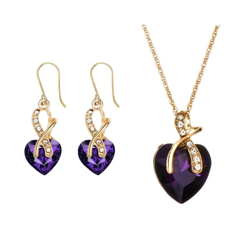 Earrings-Sets Crystal Necklace White Purple Green Austrian Engagement Gold-Color Women title=