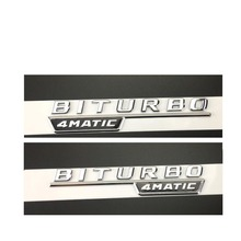 "Chrome "" BITURBO 4MATIC "" Plastic Car Trunk Fender Letters Badge Emblem Emblems Decal Sticker for Mercedes Benz AMG 17-18(China)"