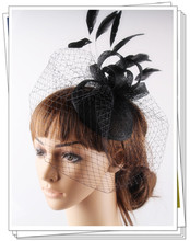 16 color elegant fascinator sinamay base birdcage veil feather adorned for bridal hairstyle party headwear race and cocktail hat