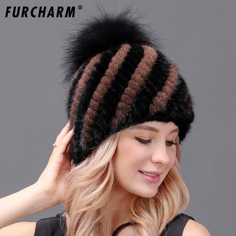100% Real mink fur hat knitted winter hat mink hat fox fur pom poms new cap 2017 new hot sale high quality female beaniesÎäåæäà è àêñåññóàðû<br><br>