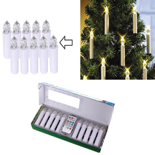 10pcs Party Wedding Christmas Home Tree Decoration Wireless Remote Control 12 Colors LED Candles Battery Operated Light