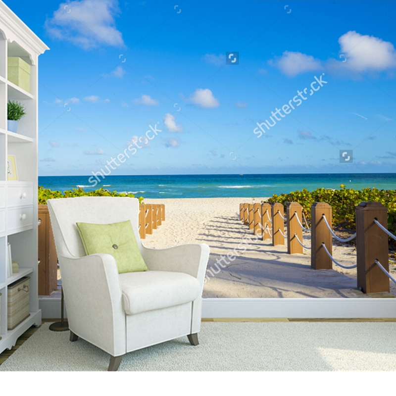 Natural scenery wallpaper,Walkway to famous South Beach,3D photo for living room bedroom store background wall silk wallpaper<br>
