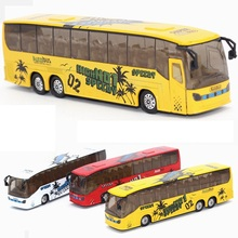 EFHH 1:50 Alloy Simulation Tourist Bus Diecasts Toy Vehicles Model with Musical Flashing Pull Back Color Random Excellent Gifts(China)