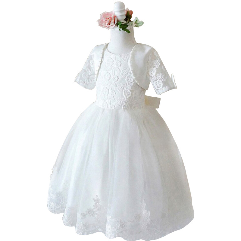 Girls White Princess Dress for Wedding and Party  Flower Girl Dresses with small Jacket Baby Children Clothes Kids Evening Dress<br><br>Aliexpress