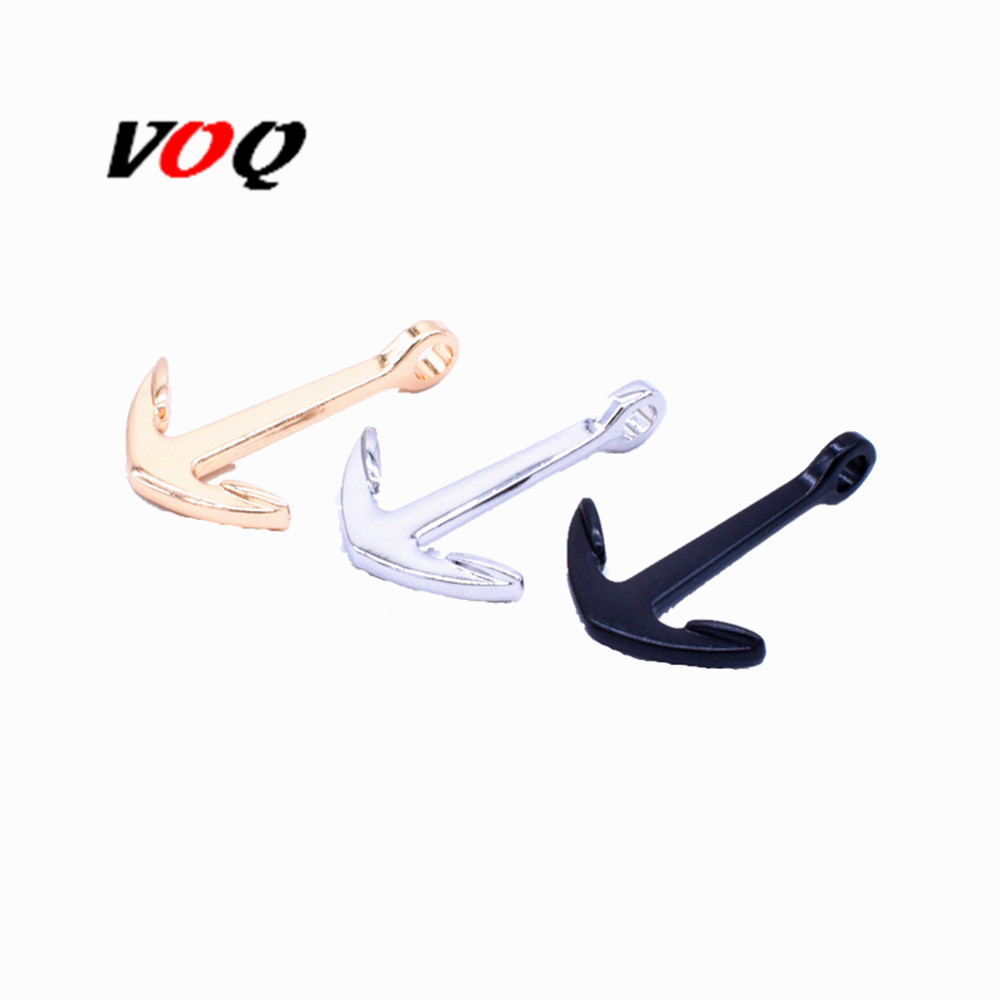 100pcs /lot Zinc Alloy Anchor Charm Bracelet Attachment Fastener Jewelry Handmade DIY Style Gold and Silver Black Anchor
