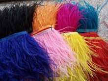"2 m /Lot Height 4-6"" Natural Ostrich Feather fringe Ostrich feather Trimming on Satin HeaderAvailable freeshipping"