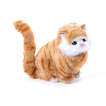 2017 Super Lovely soft sounding Simulation stuffed plush cats toys  Electric Simulation cute plush cat doll toys for kids girl