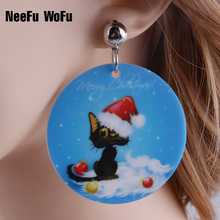 Drop Earrings Cute Cat Ear Halloween men Men Hiphop/Rock Celebrity Painted Pattern Brincos Long Earrings Dangle Christmas Gifts(China)