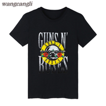 GUNS and roses mens T-shirts Black Summer Cotton Sleeve T Shirt and Rock Band men t shirt Hip Hop in 4XL Shirts Guns N Roses