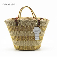 beach bag straw totes bag bucket summer bags gold silver striped women handbag braided 2017 new arrivals spring and summer