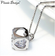 Vinnie Design Jewelry 925 Sterling Silver Necklaces for Women Love Magic Cube Pendant Necklace as Christmas Gift(China)