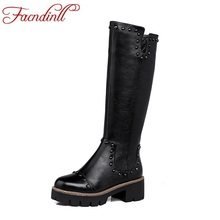 FACNDINLL new women autumn winter genuine leather shoes woman platform zip rivets black motorcycle boots women knee high boots
