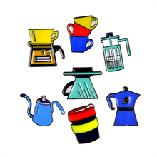 Vintage Coffee Pot Hand Rush Aeropress Cup Colorful Cartoon Brooch Pins Button Pin Bag Denim Jacket Pin Badge Gift Jewelry