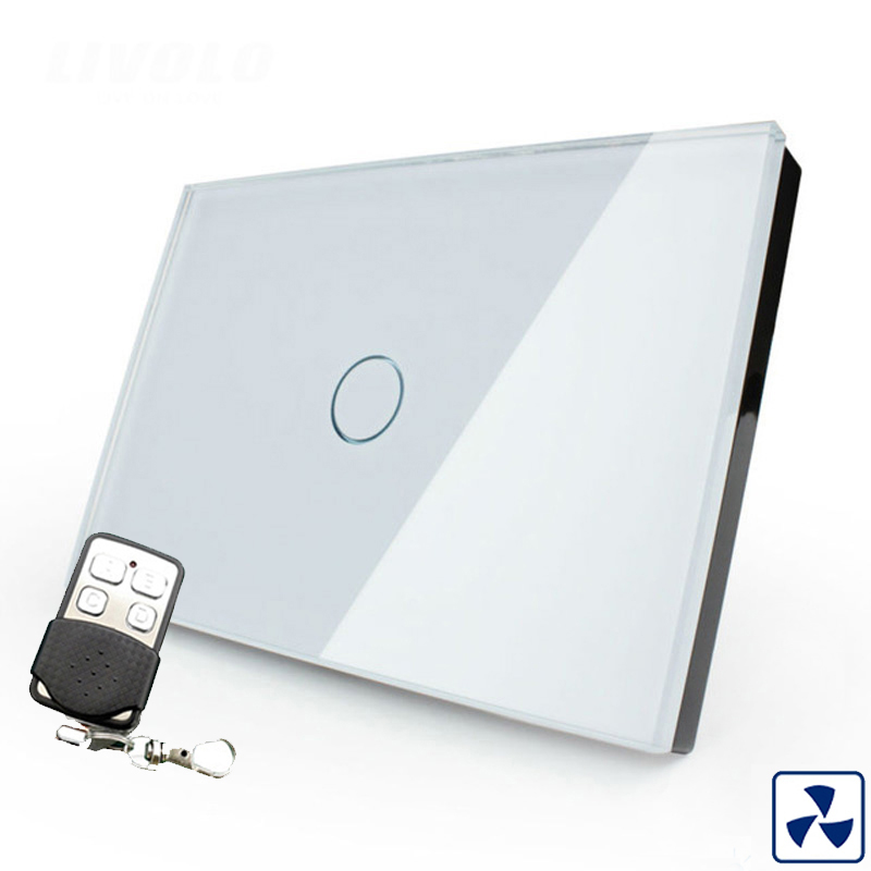 Cnskou US standard wireless remote control fan touch switch white crystal glass panel wall smart touch sensor switch<br>