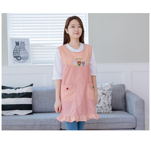 Pink Cartoon Cute Animal Pattern With Two Pockets Sleeveless Kindergarten Teachers Apron Vest Style Aprons Avental De Cozinha
