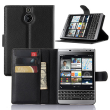 Fashion PU Leather Case Cover For Blackberry Passport Silver Edition Flip Protective Cell Phone Shell Back Cover Skin With Slot(China)