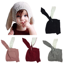 4 Colors 0-4 Years Boys Girls Kids Autumn Winter Baby Warm Infant Beanie Cap Knitted Rabbit Ears Cute Cotton Hats for Baby Thick