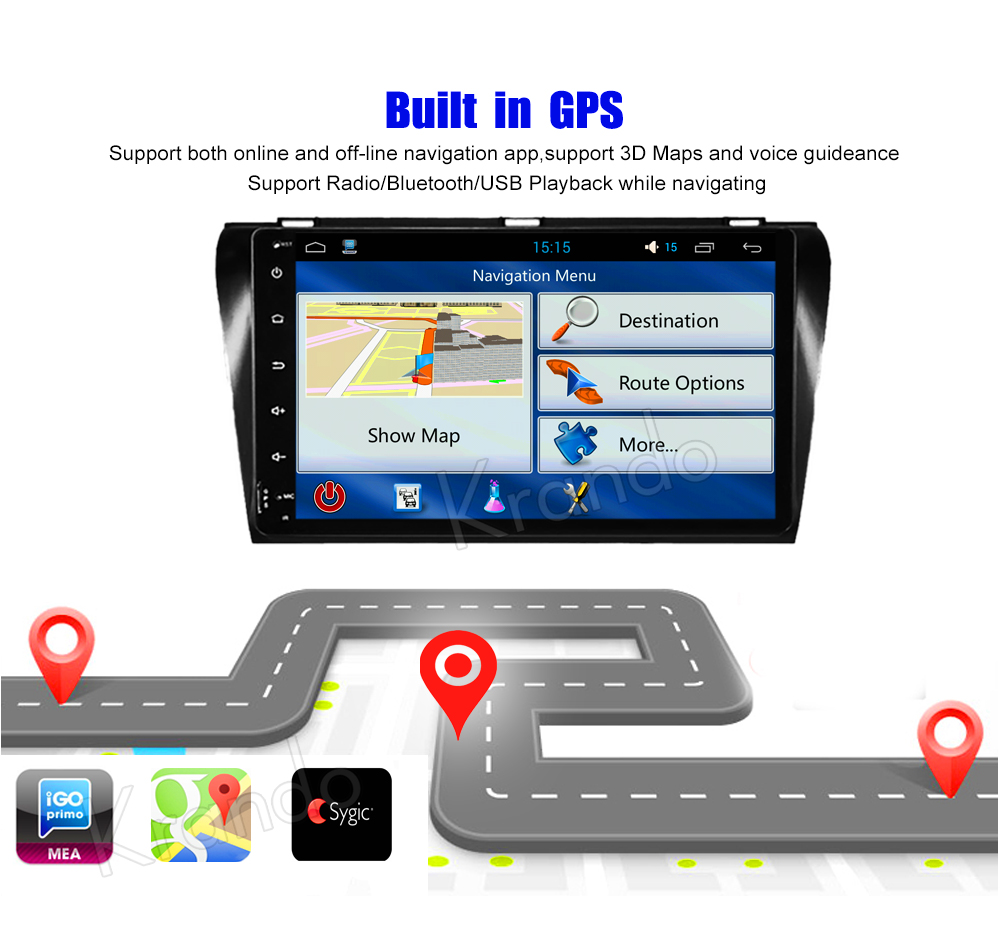 Krando Android car radio gps navigation multimedia system for Mazda 3 2004 2005 2006 2007 2008 2009