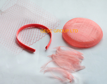 NEW Coral pink sinamay base veiling satin headband feathers for handmade Wedding fascinator.