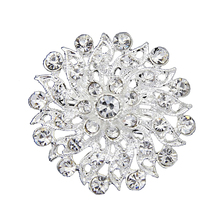 Top Quality Silver Plated Flower Shape Brooches for Women Crystal Rhinestone Wedding Bridal Costume Brooch Party Decoration