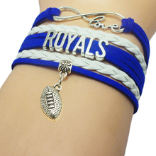 Infinity Love MLB Kansas City Royals Baseball Team Bracelets Leather Suede Charm Customize Friendship Wristband Women Bangle