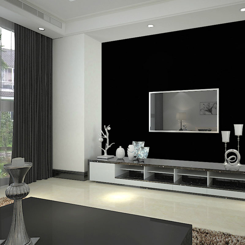 Black PVC Wall Paper Roll,Silk Embossed Solid Color Wallpapers Modern for Living Room Paper Background Vinyl Wallpaper for Walls<br>