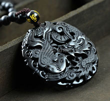 Fashion Natural Black Obsidian Hand-carved  Dragon Phoenix Pendant  Necklace Fine Statues Jewelry For Women Men Free Rope