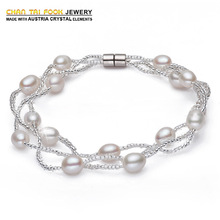 New fashion 100% 6-7mm natural freshwater pearl bracelet 925 sterling silver bracelets & bangles jewelry for women