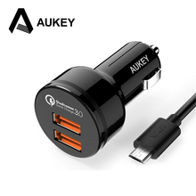 AUKEY Car Charger 5V3A Quick Charge 3.0 Car-Charger Fast Dual Port USB Mobile Phone Car Charger for iPhone Xiaomi Samsung S8(China)