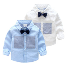 Children Boys Dress Shirt Fall New Long-sleeve Shirt With Bow Tie 2-9 Years Age Toddler Boys Turn Down Collar Top Baby Clothing