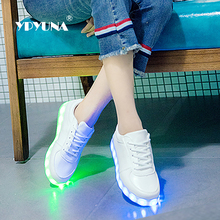 YPYUNA // kids shoes children with led light up sneakers for girls&boys USB illuminated krasovki luminous sneakers glowing