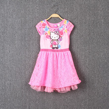 4-12 yrs Girls Hello Kitty Dress Cartoon Digital printing Dresses for Summer lace soft yarn clothes cute cat dress for big
