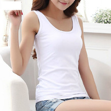 High Quality 16 Colors Summer Style Women Tank Top Camisole Cotton Slim Ladies Thin Vest Bralette(China)