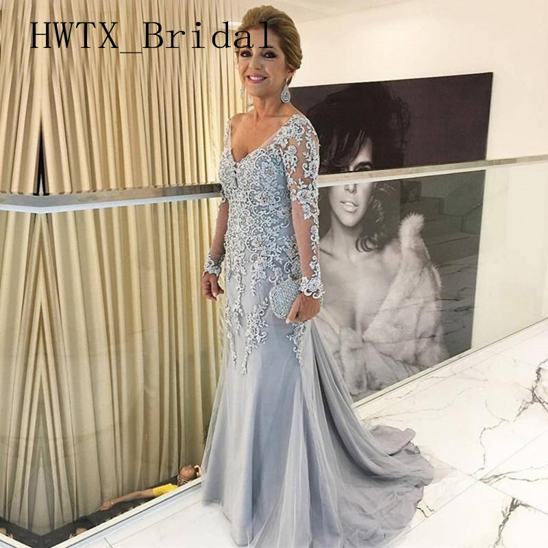 Vintage Silver Lace Applique Mermaid Mother of the Bride Dresses Plus Size Sheer Long Sleeves V Neck Women Evening Gowns 2019
